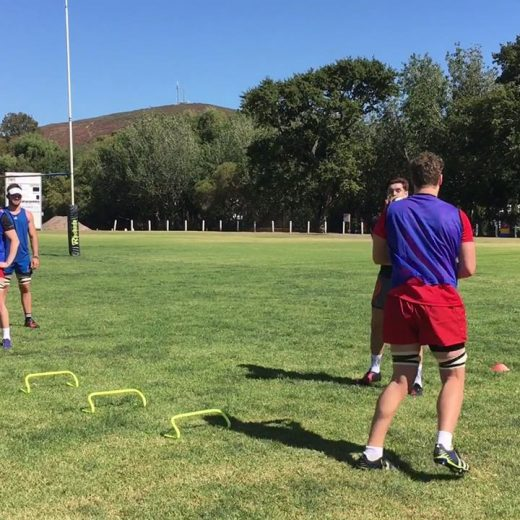 Monday morning field session for the SAS Rugby International Institute players
