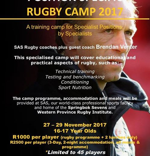 To all 16-17 year old schoolboy rugby players!! One-on-one position specific rugby experience with…