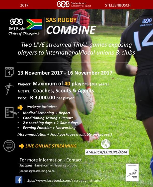 We are super excited to launch our first SAS RUGBY COMBINE! Please note -…