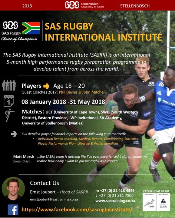 Great news!! Applications are now officially open for the 2018 SAS Rugby International Institute…
