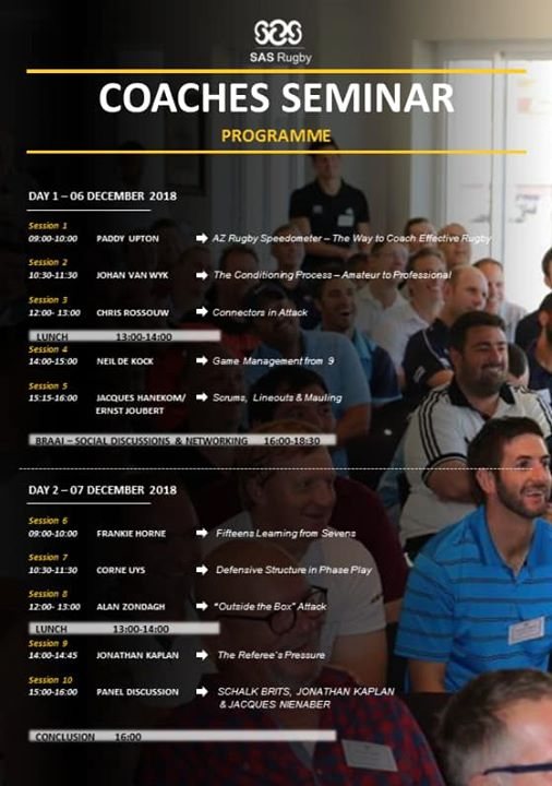 Last chance! Our SAS Rugby Coaches Seminar is taking place on Thursday and Friday…