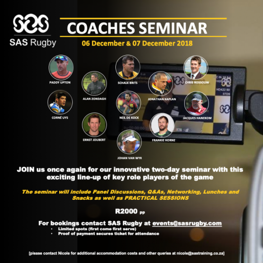 This year we are taking the SAS Rugby Coaches Seminar to the next level…