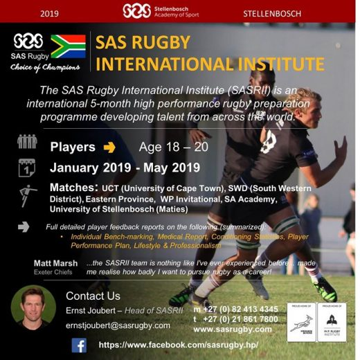 There are limited places still available for our SAS Rugby International Institute (SASRII) programme…