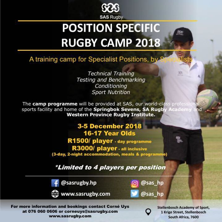 Remember to enter our SAS Rugby Position Specific Camp! #sasperformance #choiceofchampions #sasrugby